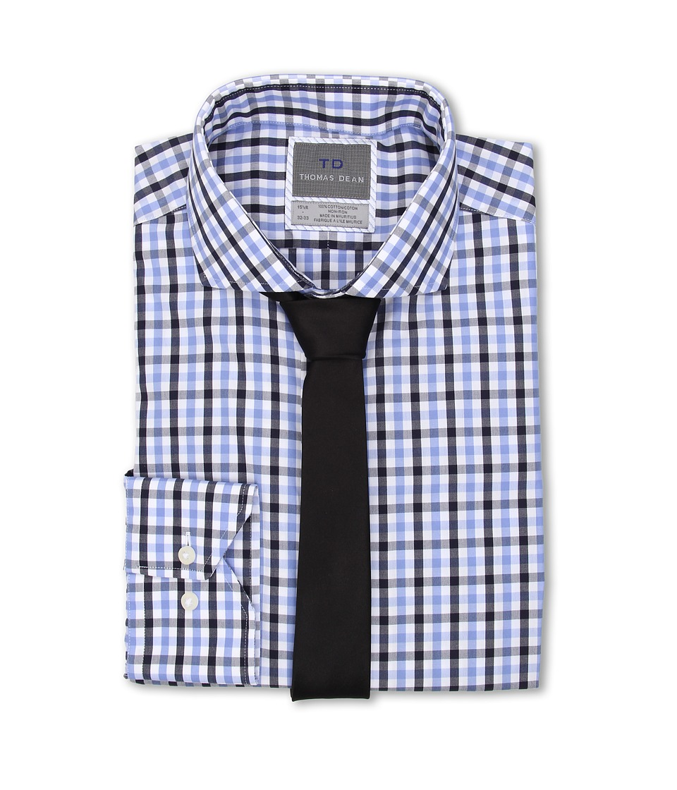 Thomas Dean & Co. - Bold Multi Gingham Non-Iron L/S Woven Dress Shirt w/ Spread Collar (Blue) Men's Long Sleeve Button Up