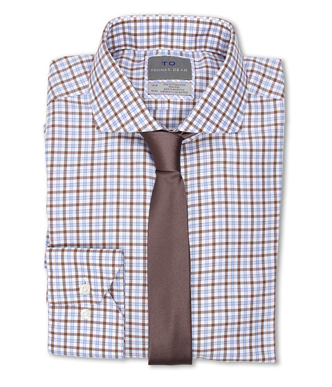 Thomas Dean & Co. - Twill Multi Check Non-Iron L/S Woven Dress Shirt (Blue) Men's Long Sleeve Button Up