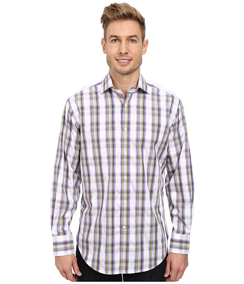 Thomas Dean & Co. - Windowpane Plaid L/S Woven Shirt (Purple) Men's Long Sleeve Button Up