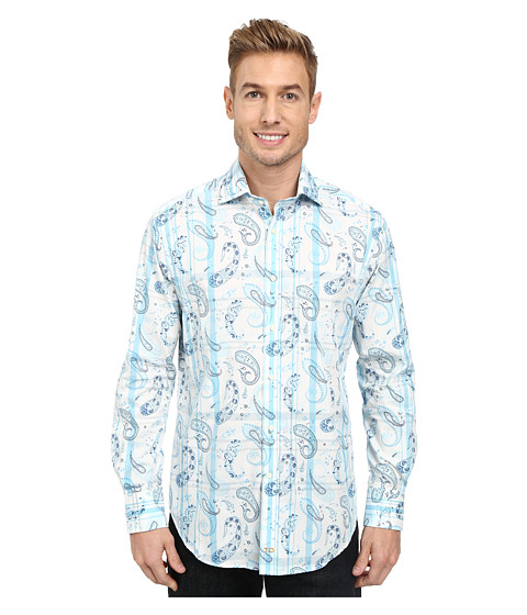 Thomas Dean & Co. - Paisley Print L/S Woven Tailored Fit Shirt (Light Blue) Men's Long Sleeve Button Up