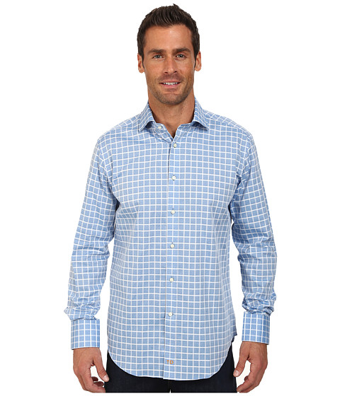 Thomas Dean & Co. - Multi-Textured Check L/S Woven Tailored Fit Shirt (Blue) Men's Long Sleeve Button Up