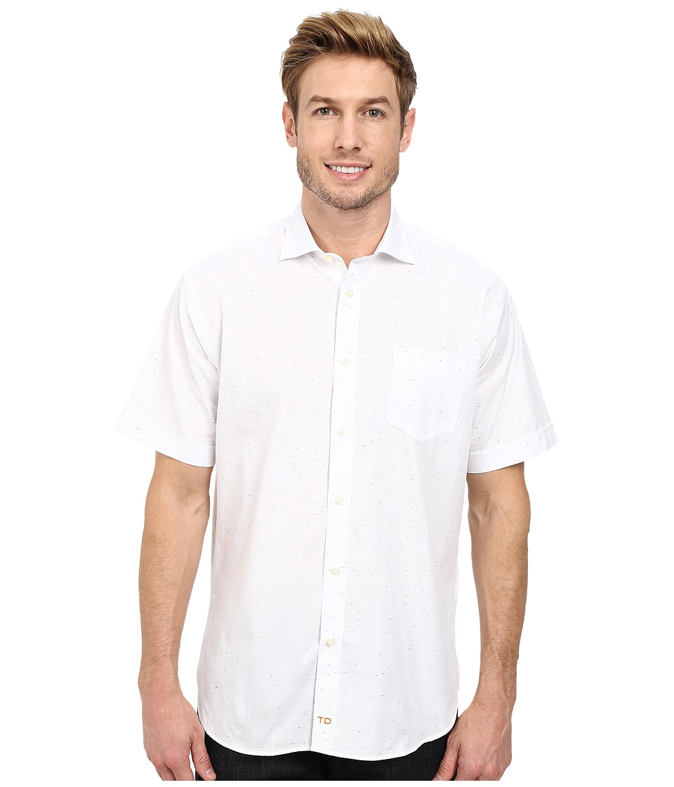 Thomas Dean & Co. - Solid w/ Confetti Weave S/S Woven Shirt (White) Men's Short Sleeve Button Up