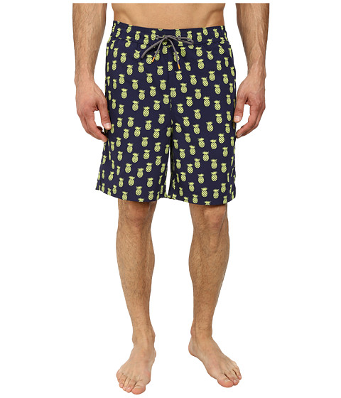 Thomas Dean & Co. - Pineapple Print Easy Fit Swim Shorts (Navy) Men