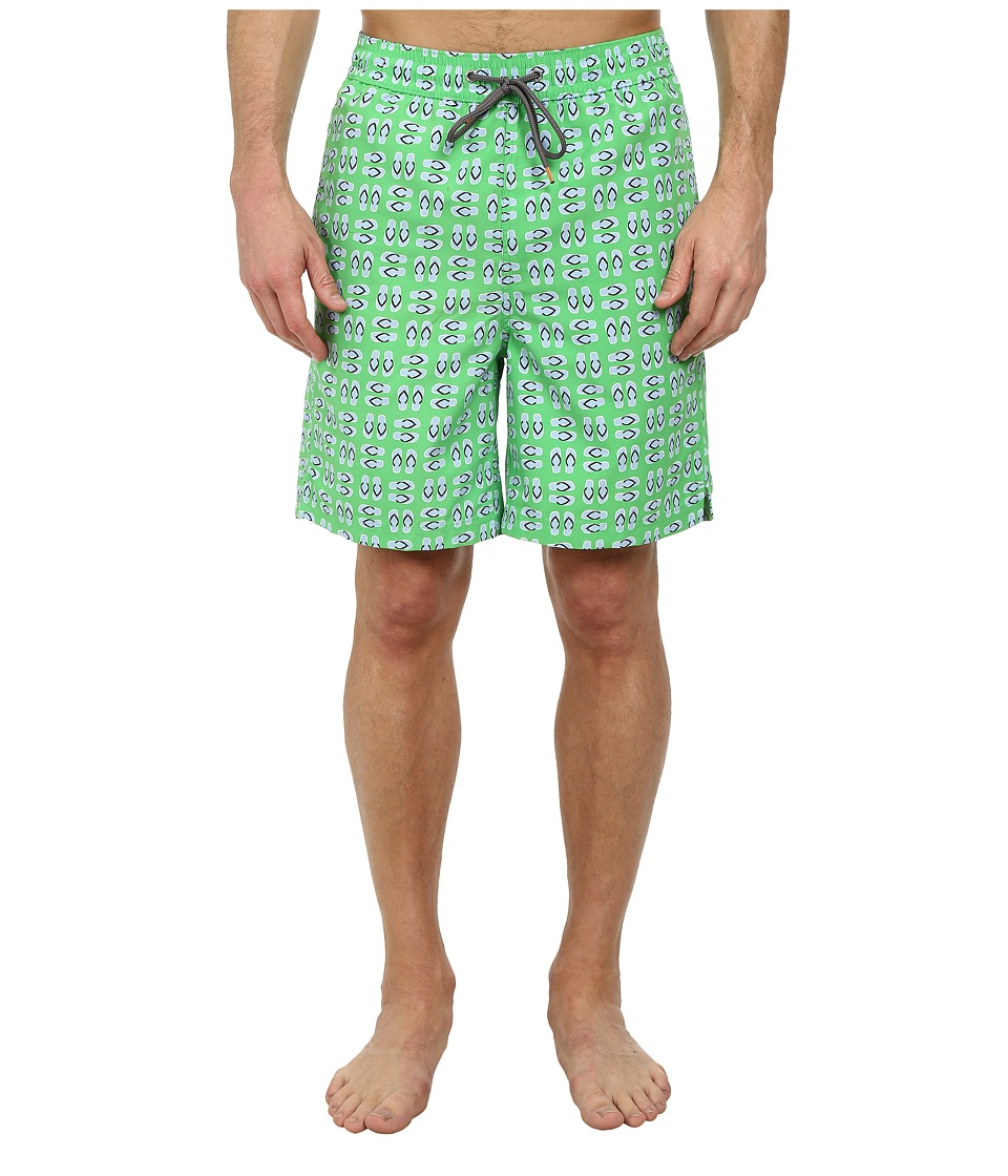 Thomas Dean & Co. - Flip-Flop Print Easy Fit Swim Shorts (Green) Men's Swimwear