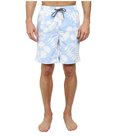 Thomas Dean & Co. - Tropical Print Easy Fit Swim Shorts (Light Blue) Men