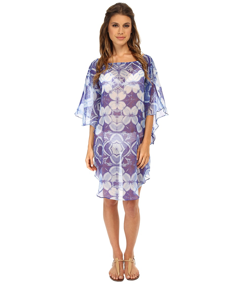 Echo Design - Batik Floral Flutter Caftan Cover-Up (Ocean) Women's Swimwear