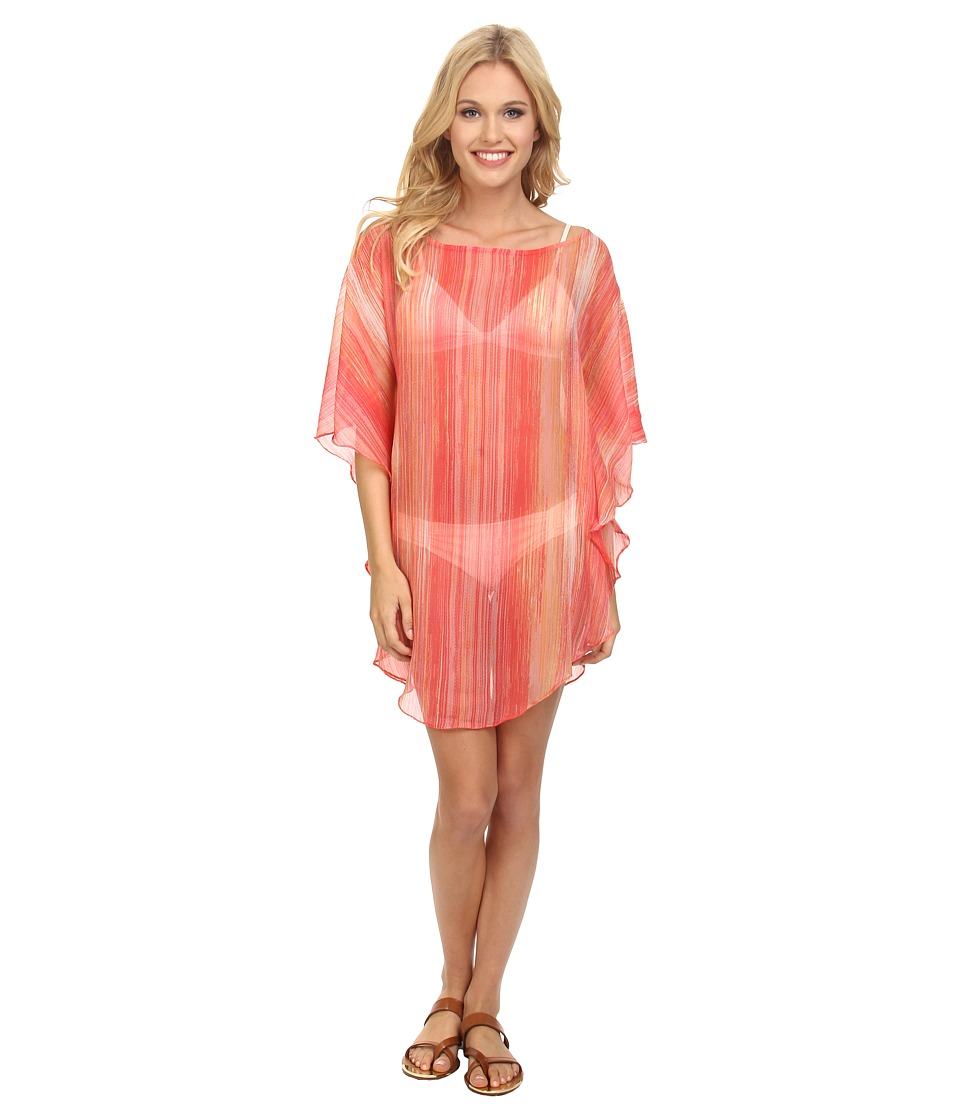 Echo Design - Seaside Stripe Flutter Caftan Cover-Up (Island Coral) Women's Swimwear