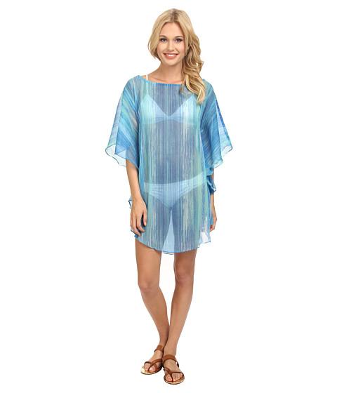 Echo Design - Seaside Stripe Flutter Caftan Cover-Up (Ocean) Women's Swimwear