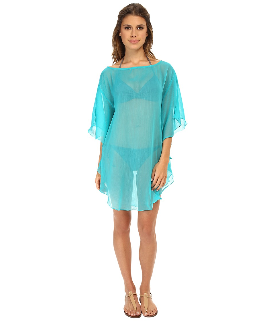 Echo Design - Solid Flutter Caftan Cover-Up (Turquoise) Women's Swimwear