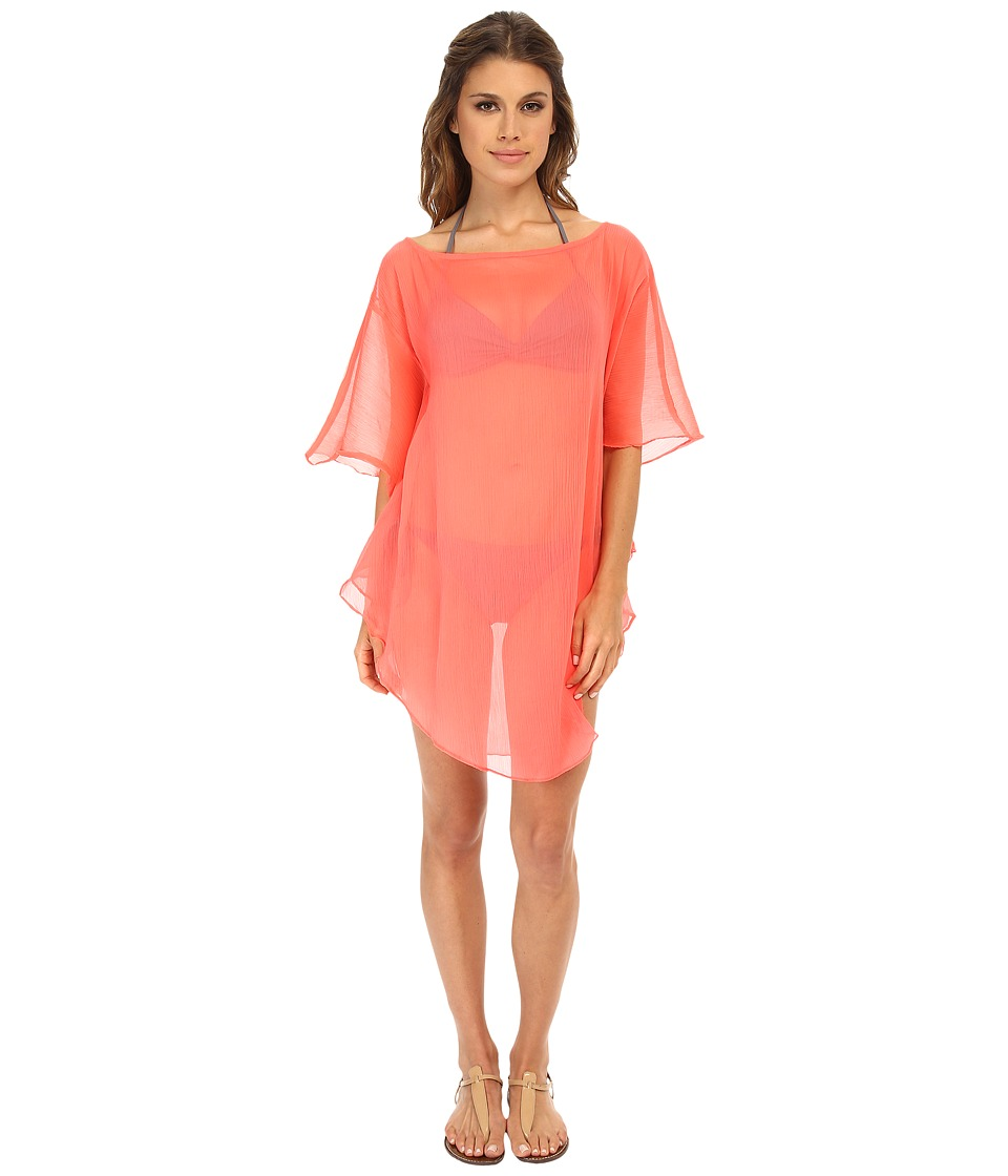 Echo Design - Solid Flutter Caftan Cover-Up (Island Coral) Women's Swimwear