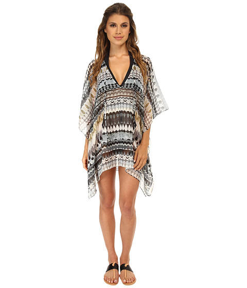 Echo Design - Geo Stripe Kangaroo Cover-Up (Black) Women
