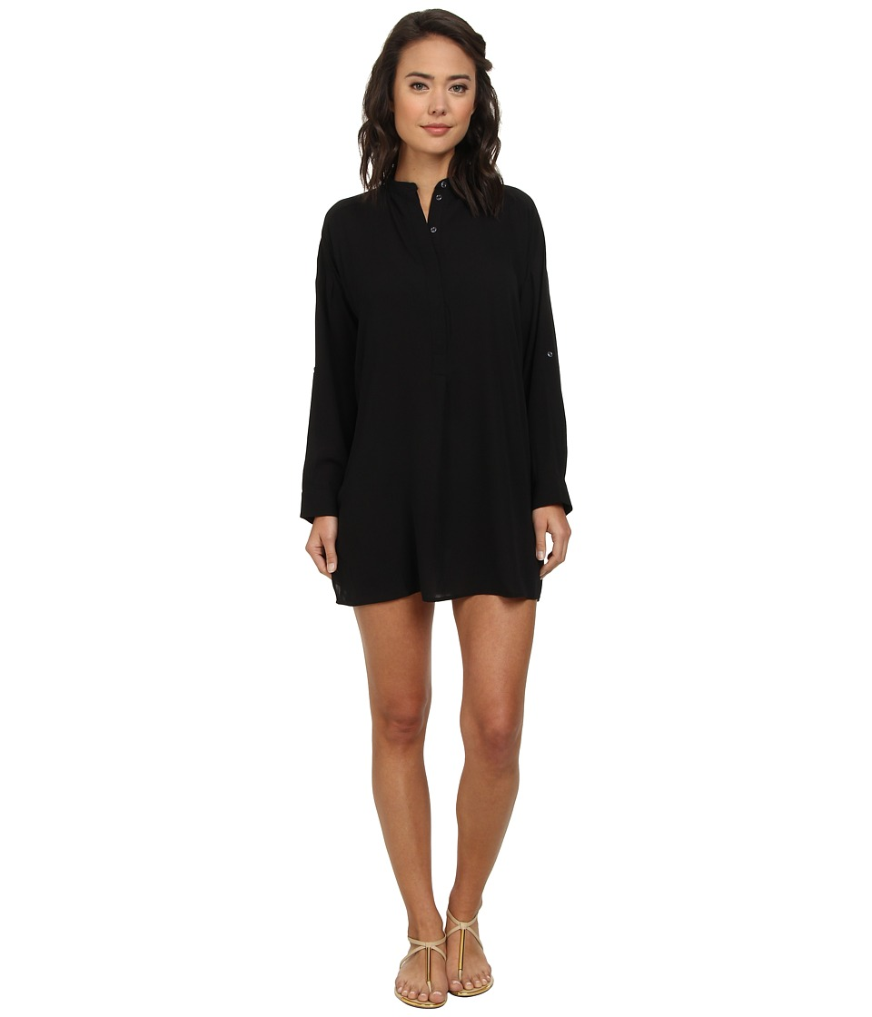 Echo Design - Solid Silky Shirt Dress Cover-Up (Black) Women's Swimwear