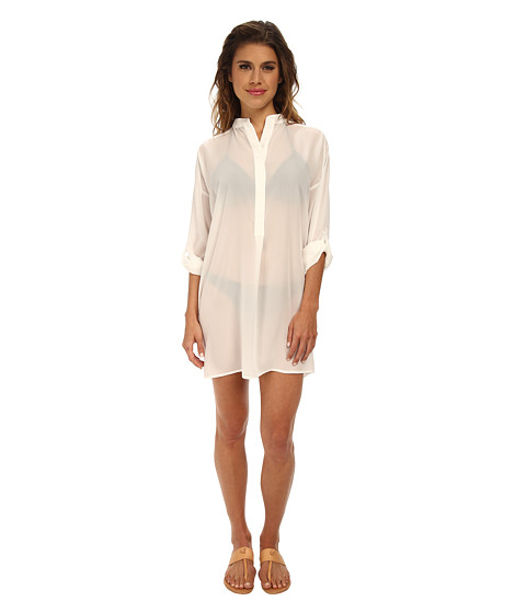 Echo Design - Solid Silky Shirt Dress Cover-Up (White) Women's Swimwear