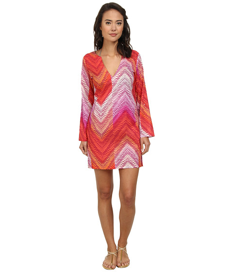 Echo Design - Island Chevron Tunic Cover-Up (Island Coral) Women's Swimwear