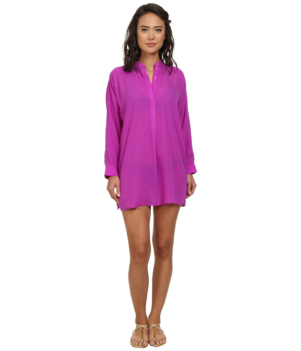 Echo Design - Solid Silky Shirt Dress Cover-Up (Bright Orchid) Women's Swimwear