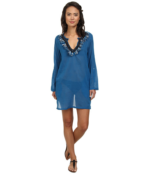 Echo Design - Tassel Neckline Tunic Cover-Up (Ocean) Women's Swimwear