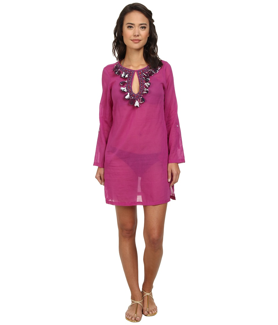 Echo Design - Tassel Neckline Tunic Cover-Up (Bright Orchid) Women's Swimwear