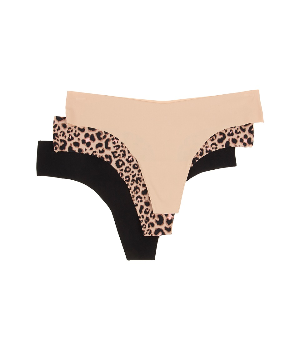 Image of Betsey Johnson - 3-Pack Forever Perfect Invisible Thong J2933P3 (Black/Naked/Boca Leopard Natural) Women's Underwear