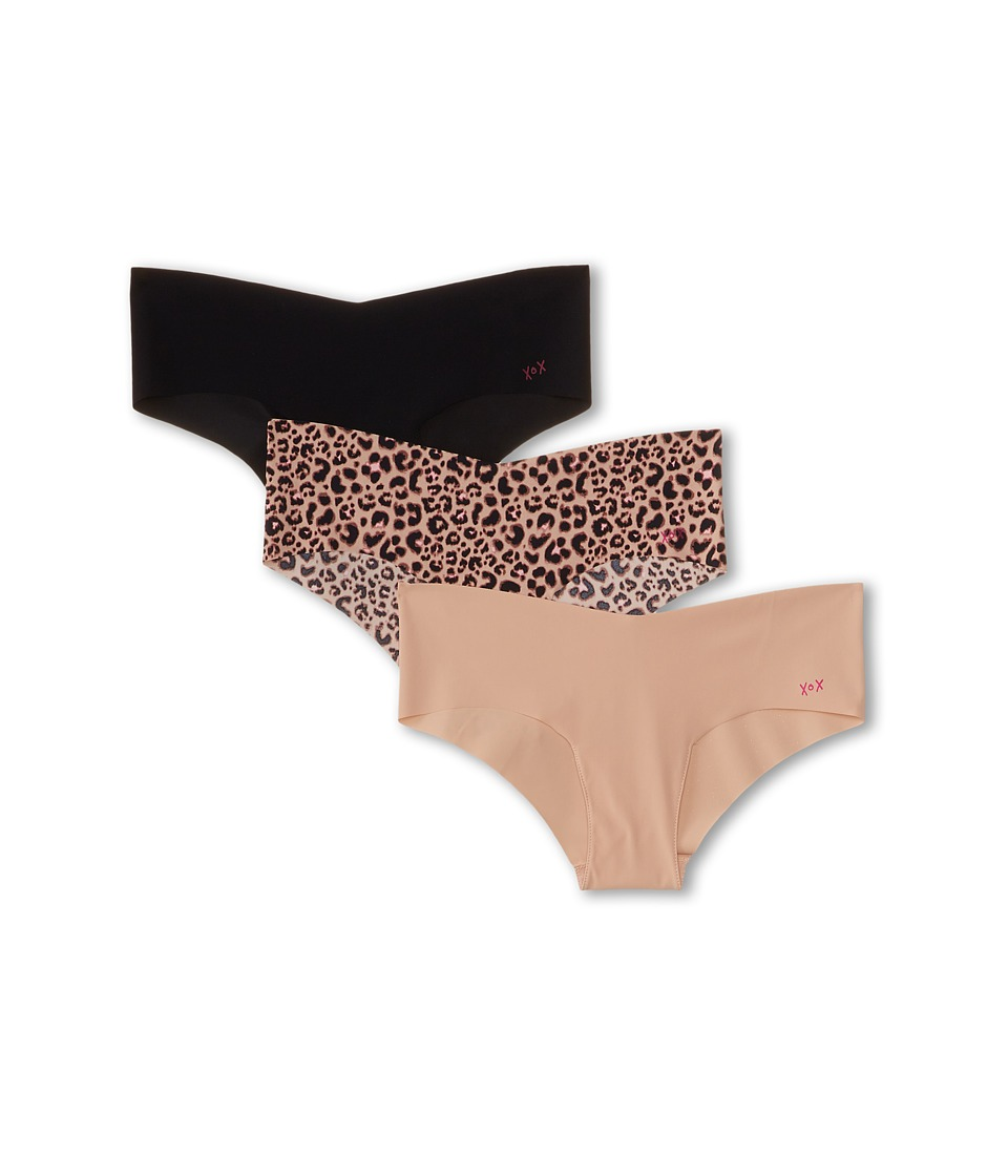 Image of Betsey Johnson - 3-Pack Forever Perfect Invisible Hipster J0933P3 (Black/Naked/Boca Leopard Natural) Women's Underwear