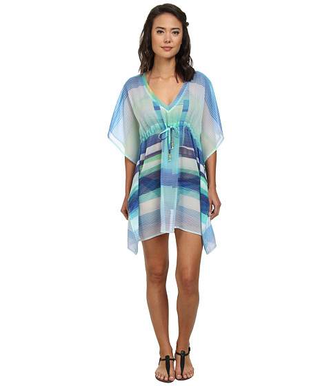 Echo Design - Prism Stripes Silky Butterfly Cover-Up (Turquoise) Women