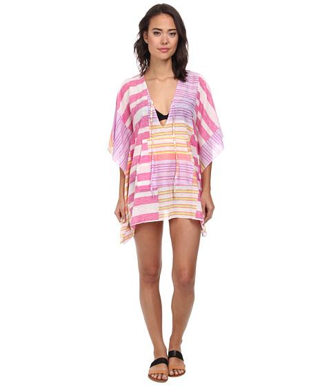 Echo Design - Hazy Stripe Kangaroo Poncho Cover-Up (Hot Pink) Women's Swimwear