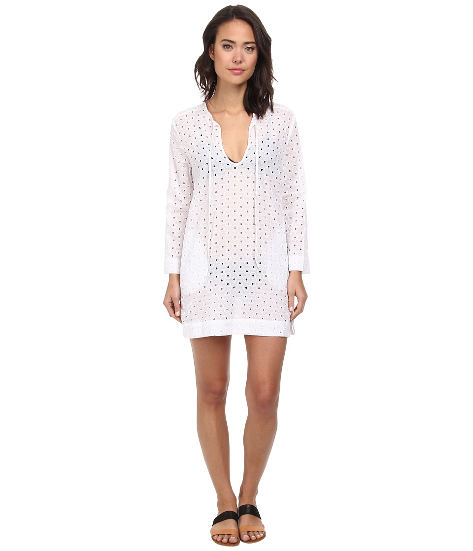 Echo Design - Eyelet Dot Tunic Cover-Up (White) Women's Swimwear
