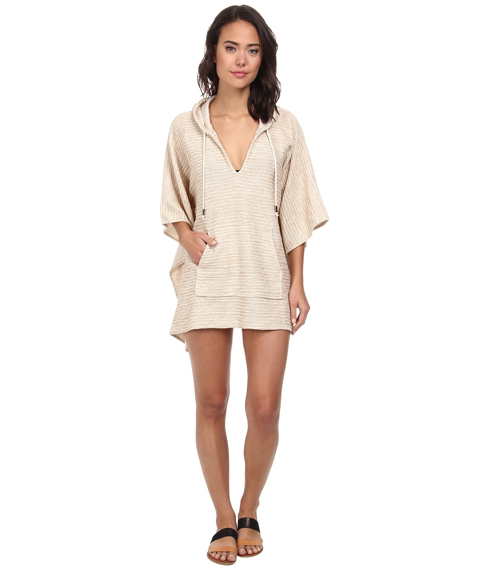 Echo Design - French Terry Hooded Kangaroo Cover-Up (Sand) Women