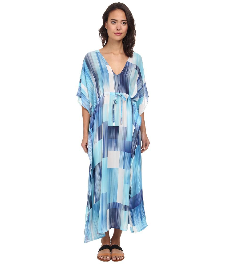 Echo Design - Waterfall Blocks Silk Dress Cover-Up (Ocean) Women's Swimwear