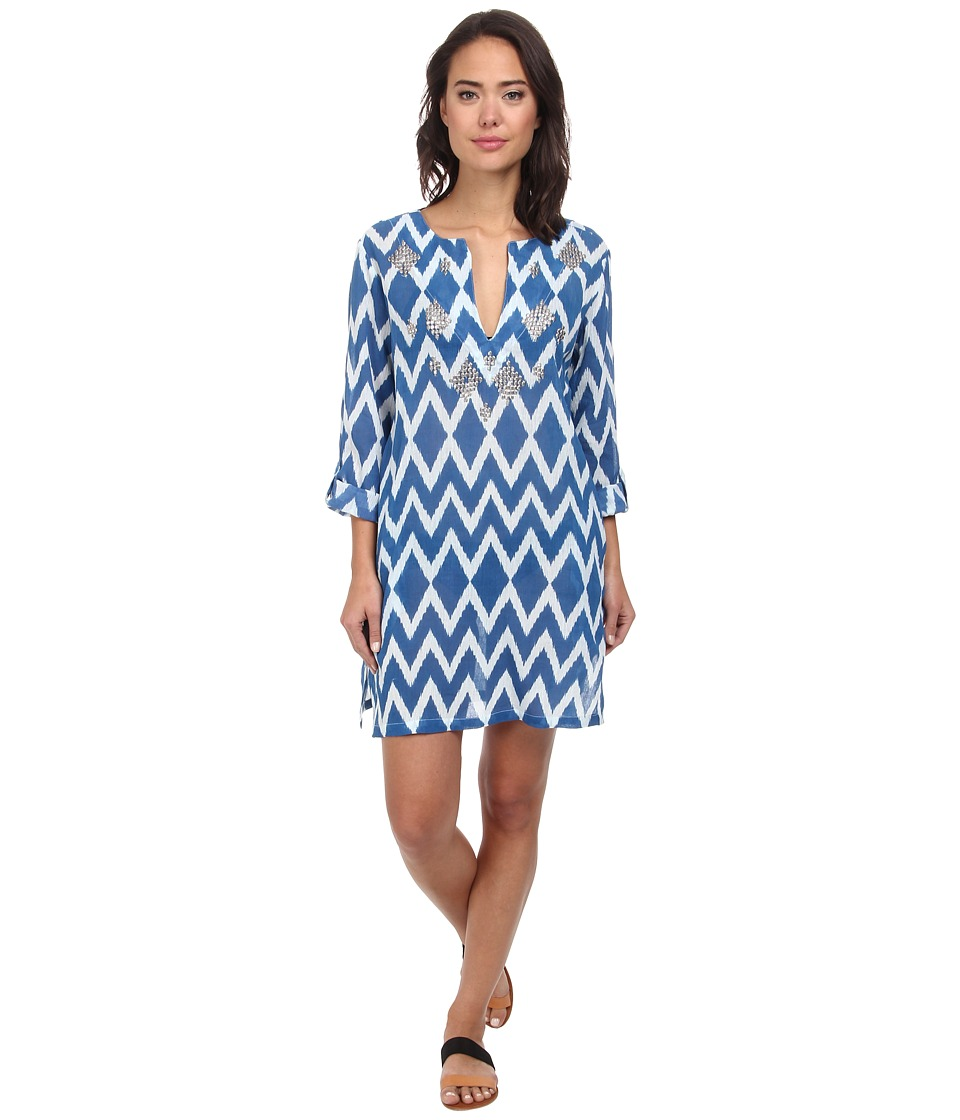 Echo Design - Ikat Sequined Tunic Cover-Up (Ocean) Women's Swimwear