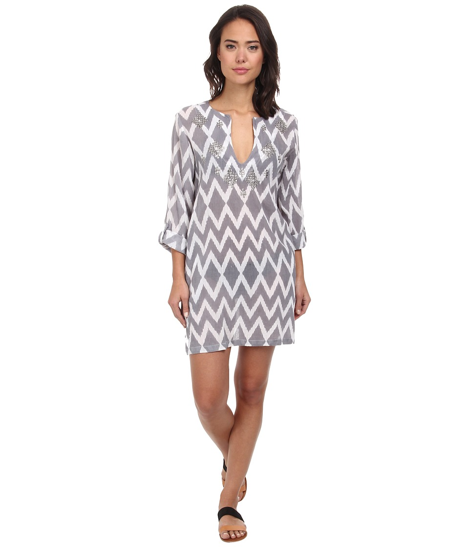 Echo Design - Ikat Sequined Tunic Cover-Up (Silver) Women's Swimwear