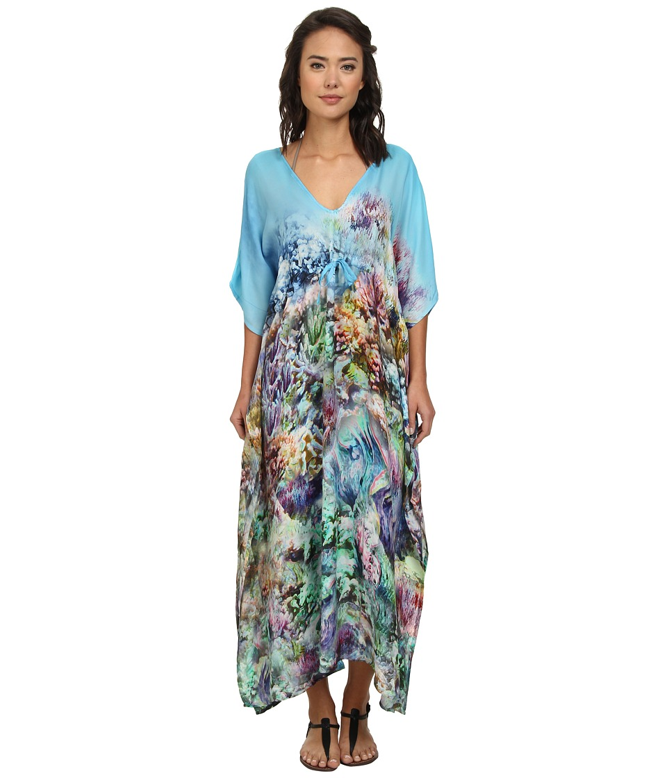 Echo Design - The Reef Silk Dress Cover-Up (Multi) Women's Swimwear