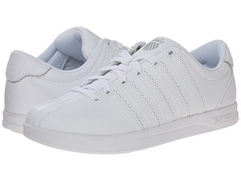 K-Swiss - Court Pro (White/Gull Grey Leather) Men's Tennis Shoes