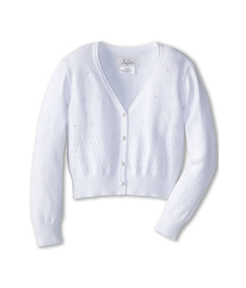 Us Angels - Pearl Pointelle Cotton Sweater (Little Kids/Big Kids) (White) Girl