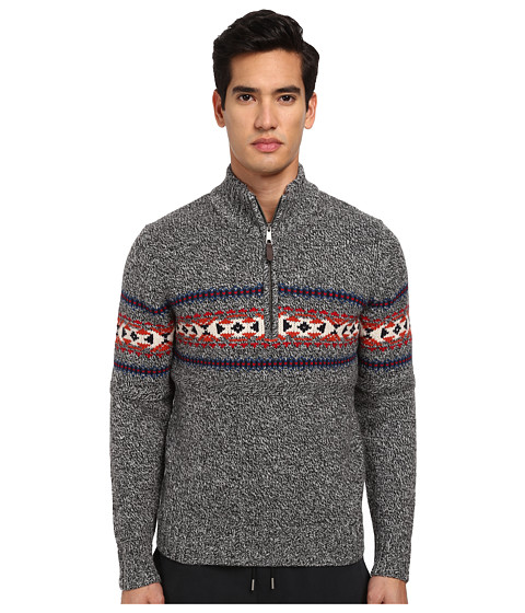 Jack Spade - Belmont Half Zip Fair Isle Sweater (Black Marl) Men's Sweater