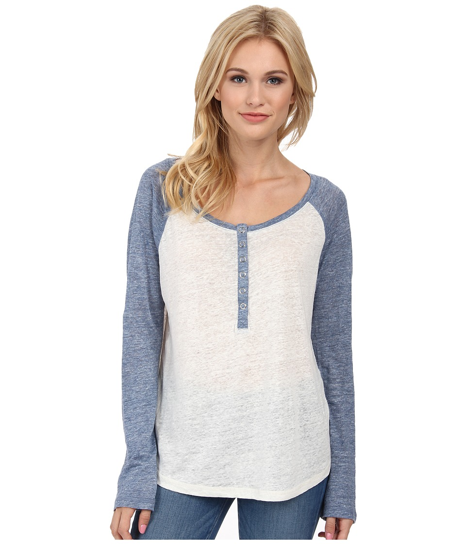 Splendid Melange Linen Jersey Baseball Tee (White/Heather Navy) Women