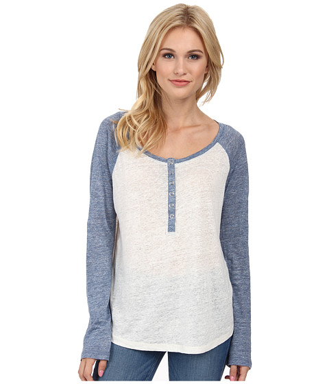 Splendid - Melange Linen Jersey Baseball Tee (White/Heather Navy) Women