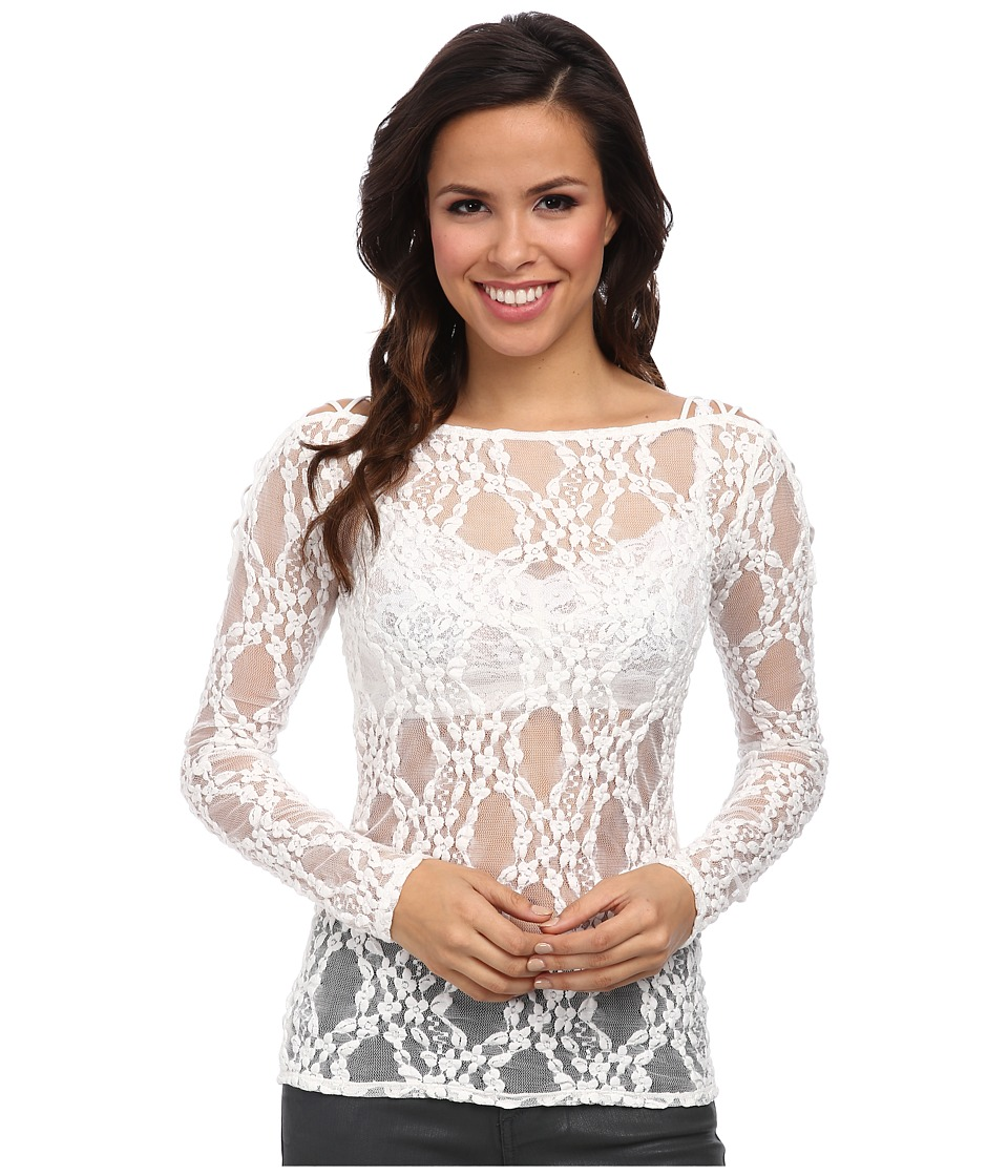 Free People - Lace L/S Crisscross Layering Cami (Ivory) Women