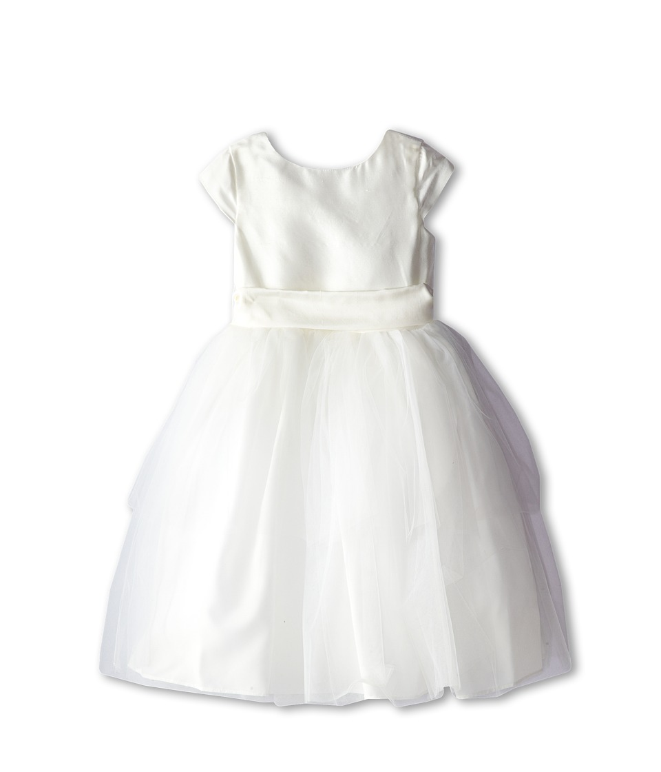 Us Angels - Cap Sleeve Silk and Tulle Dress (Little Kids) (Diamond White) Girl's Dress