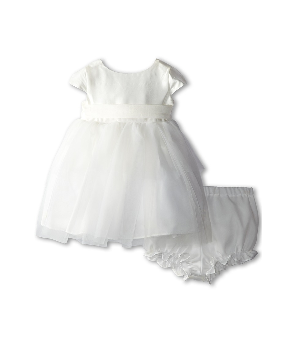 Us Angels - Cap Sleeve Silk and Tulle Dress (Infant) (Diamond White) Girl's Dress