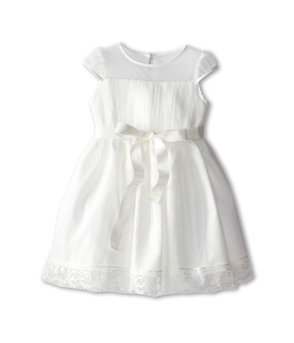 Us Angels - Point D' Esprit Dress (Toddler) (Diamond White) Girl's Dress