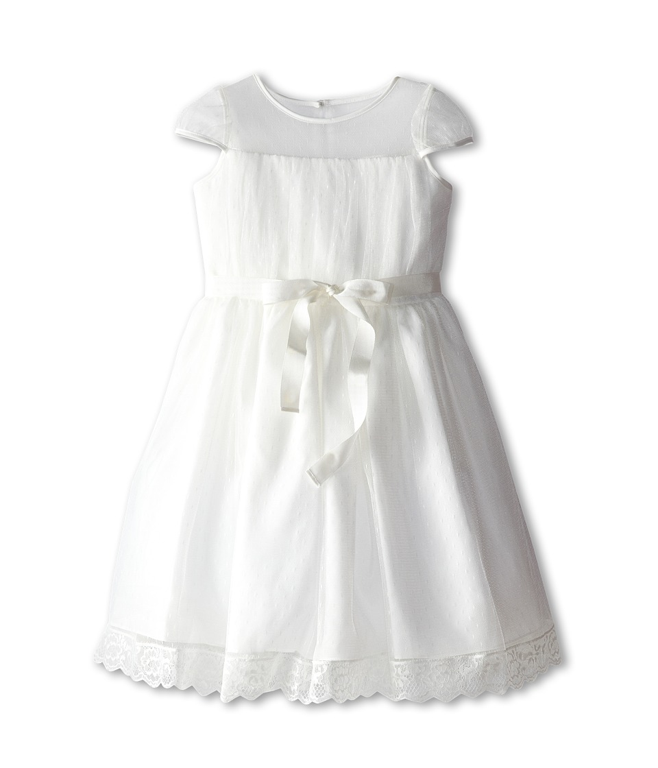 Us Angels - Point D' Esprit Dress (Big Kids) (Diamond White) Girl's Dress