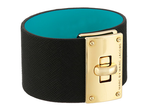 Marc by Marc Jacobs - Large Turnlock Leather Bracelet (Black) Bracelet