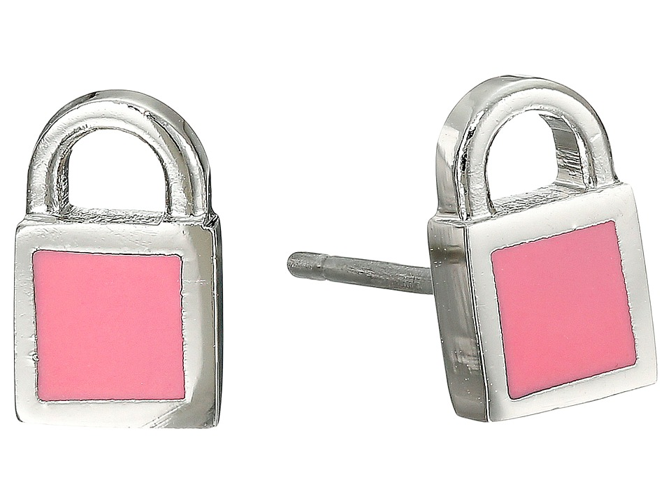 Marc by Marc Jacobs - Lock-In Mini Enamel Padlock Studs Earrings (Bright Rose) Earring