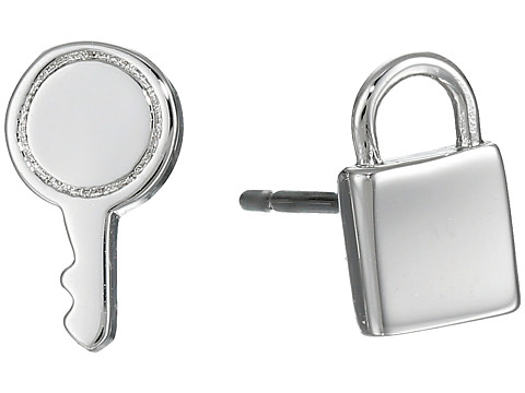 Marc by Marc Jacobs - Lock-In Mini Lock And Key Studs Earrings (Argento) Earring