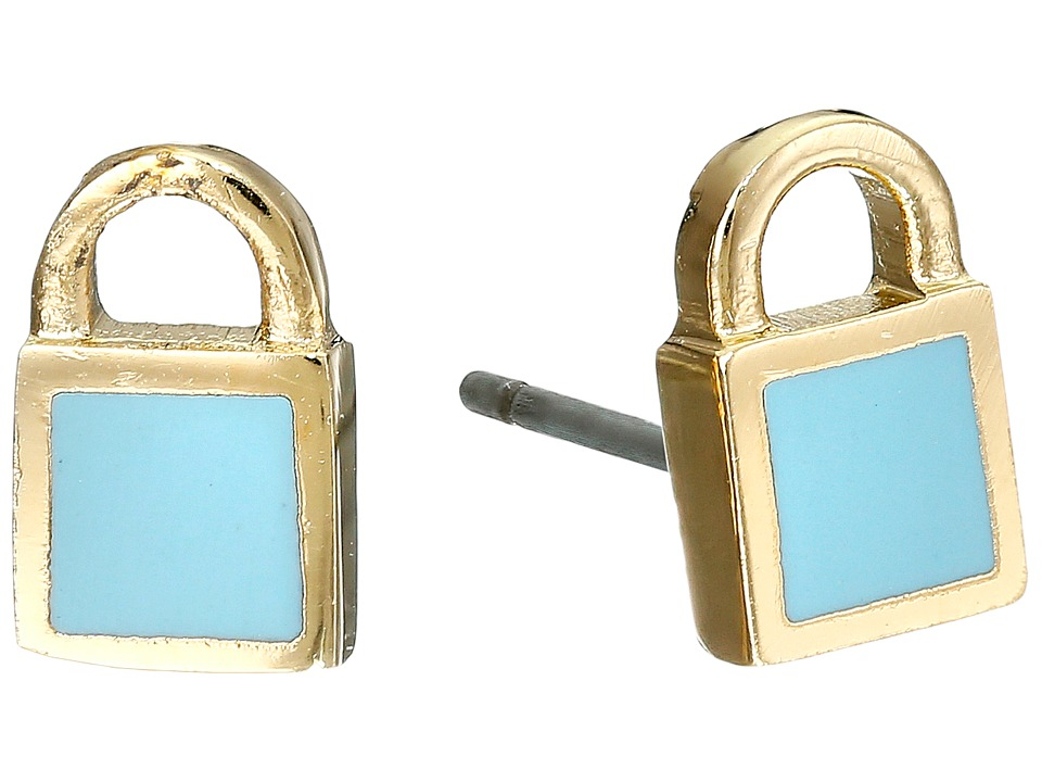 Marc by Marc Jacobs - Lock-In Mini Enamel Padlock Studs Earrings (Sea Aqua) Earring