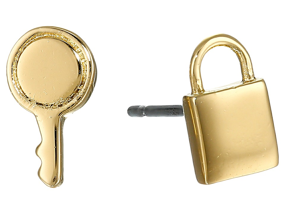 Marc by Marc Jacobs - Lock-In Mini Lock And Key Studs Earrings (Oro) Earring
