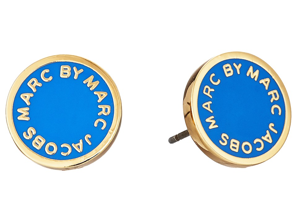 Marc by Marc Jacobs - Classic Marc Enamel Logo Disc Studs Earrings (Conch Blue) Earring