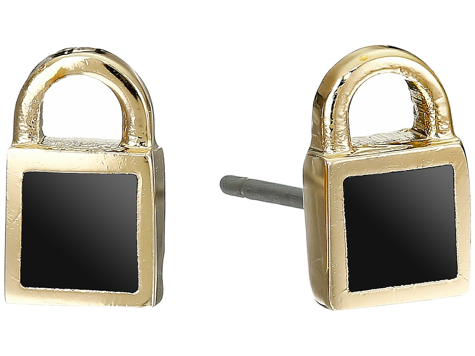 Marc by Marc Jacobs - Lock-In Mini Enamel Padlock Studs Earrings (Black) Earring