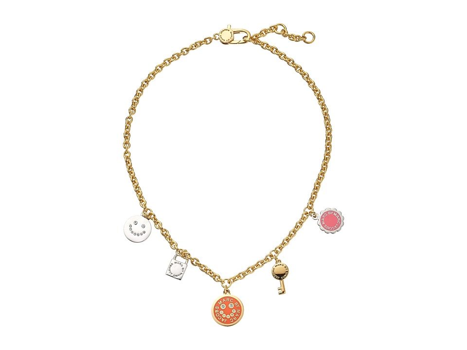 Marc by Marc Jacobs - Logo Disc-O Happy House Charm Necklace (Bright Rose Multi) Necklace