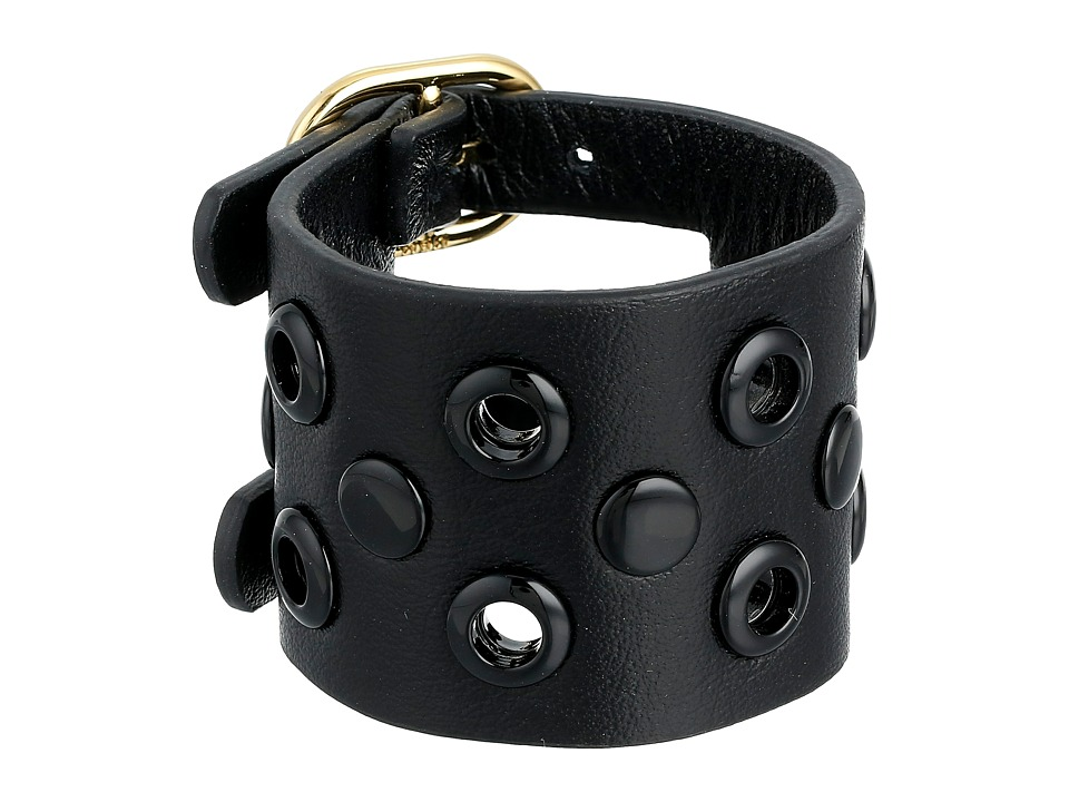 Marc by Marc Jacobs - Large Peephole Leather Bracelet (Black) Bracelet